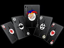 Playing cards. For poker with a fine combination in a Stock Photo