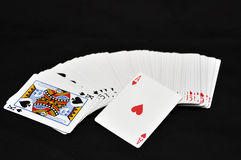 Playing cards. White playing cards and ace of heart Stock Photography