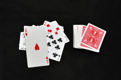 Playing cards. White playing cards and ace of heart Royalty Free Stock Photography