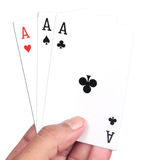 Playing cards. Hand with playing cards three aces Royalty Free Stock Image