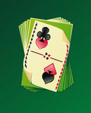 Playing Cards. Card deck, and four suits for gambling Royalty Free Stock Images