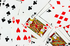 Playing Cards. Staggered playing cards for background Stock Images