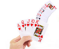 Playing cards. Winning hand with playing cards, white background royal flush win Royalty Free Stock Photography