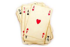 Playing cards. Isolated on white Royalty Free Stock Photography
