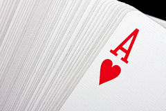Playing cards. With ace of hearts on top Stock Photography