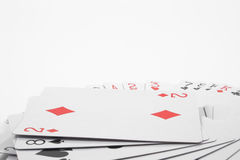 Playing Cards. Full size playing cards on a neutral background Royalty Free Stock Images