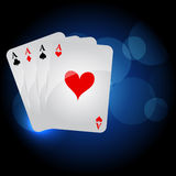 Playing cards. On blue background Stock Photo