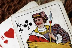 Playing cards. Closeup of old playing cards, king of crosses Royalty Free Stock Photography