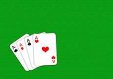 Playing cards. Poker playing cards on a green playing table vector illustration