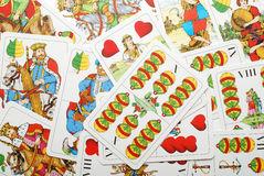 Playing cards. Random arranged vintage playing cards Stock Images