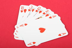 Playing cards. Printed on red background Royalty Free Stock Image
