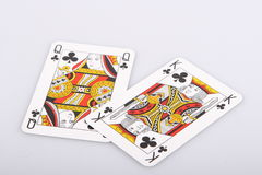 Playing cards. Two playing cards on a white background Royalty Free Stock Photo