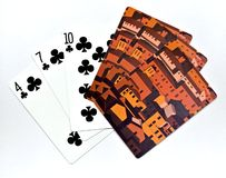 Playing Cards. With a unique artistic backing Stock Images