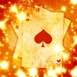 Playing cards. On a soft red background Stock Photo