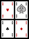 Playing cards - aces. Four colored aces cards (hearts, diamonds, clubs and spades) on black background royalty free illustration