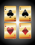 Playing cards aces. Playing cards - aces isolated on black background Stock Photography