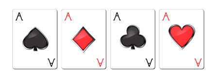 Playing cards - aces. Aces (clubs, diamonds, spades, hearts Stock Photography