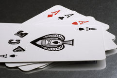 Playing cards aces close up. Playing cards aces Royalty Free Stock Images