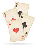 Playing cards aces of different suits old retro vector Royalty Free Stock Photography