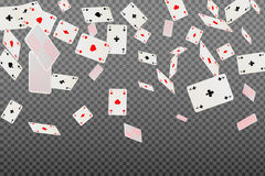 Playing cards aces falling on a transparent background. Vector illustration Stock Image