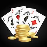 Playing cards and gold coins stock illustration