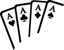Playing cards aces winning. Vector stock illustration