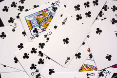 Playing cards, all flowers on the table Royalty Free Stock Images