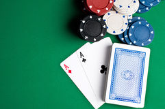 Playing Cards And Chips Royalty Free Stock Photography