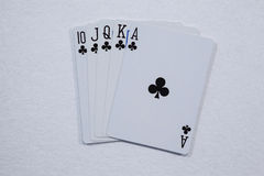Playing cards arranged on white background. Close-up of playing cards arranged on white background Royalty Free Stock Photos