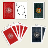 Playing cards back side and blank ace Royalty Free Stock Photos