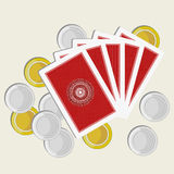 Playing cards back side gold and silver coins Stock Photo