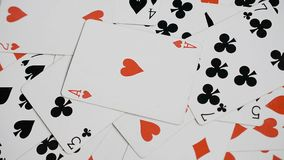 Playing cards background, ace of hearts, casino abstract. Playing cards background, ace of hearts rotating, casino abstract stock video