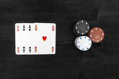Playing cards  on black background Stock Images