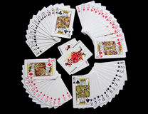 Playing Cards on Black Background Royalty Free Stock Images