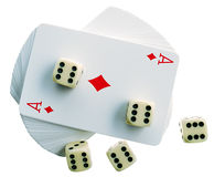 Playing-cards and bones. Playing-cards on a white background are a risk Royalty Free Stock Photo
