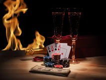Playing cards and a bottle of champagne in box Royalty Free Stock Photo