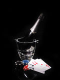Playing cards and a bottle of champagne in bucket Stock Photo