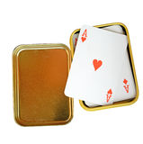 Playing cards in box isolated on white background (clipping path), Royalty Free Stock Photography