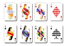 Playing cards bubi peaks Stock Photos