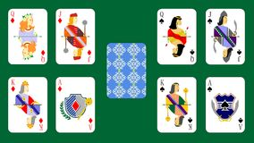 Playing cards bubi peaks Stock Photography