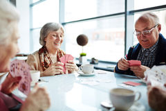 Playing cards in cafe. Friendly seniors playing cards in cafe Stock Photos