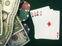 Playing Cards, Cash, and Chips Stock Photo
