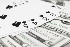 Playing Cards and Cash Royalty Free Stock Photography