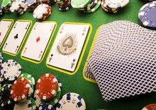 Playing cards in casino. Casino - a place where you can win or lose money Stock Photos