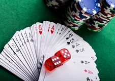 Playing cards in casino. Casino - a place where you can win or lose money Royalty Free Stock Photos