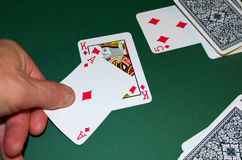 Playing cards in a casino. Royalty Free Stock Images