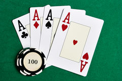 Playing cards and casino chips Royalty Free Stock Images