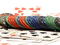 Playing cards and casino chips. Playing card and casino chips isolated closeup Stock Images