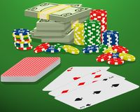 Playing cards, casino chips and bundle of money on a green gambling table. Blackjack, card deck and cash winnings. Playing cards, casino chips and bundle of vector illustration