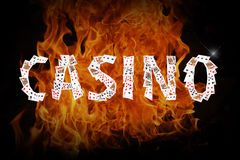 Playing cards and casino chips on fire. 3D illustration Royalty Free Stock Images